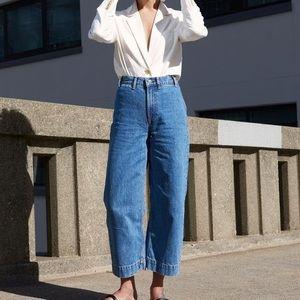 Everlane Edition 02 Wide Leg Crop Jeans Med Wash